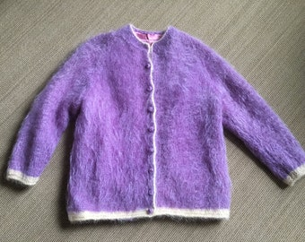 45dafba6c9 Vintage 1960s Mohair Cardigan Sweater Hand Made Lavender Orchid Purple