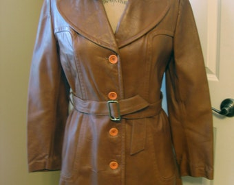 c886f164a2 Vintage Imperial Camel LEATHER Car Trench Coat Caramel Brown Belted Lined  Women s S M