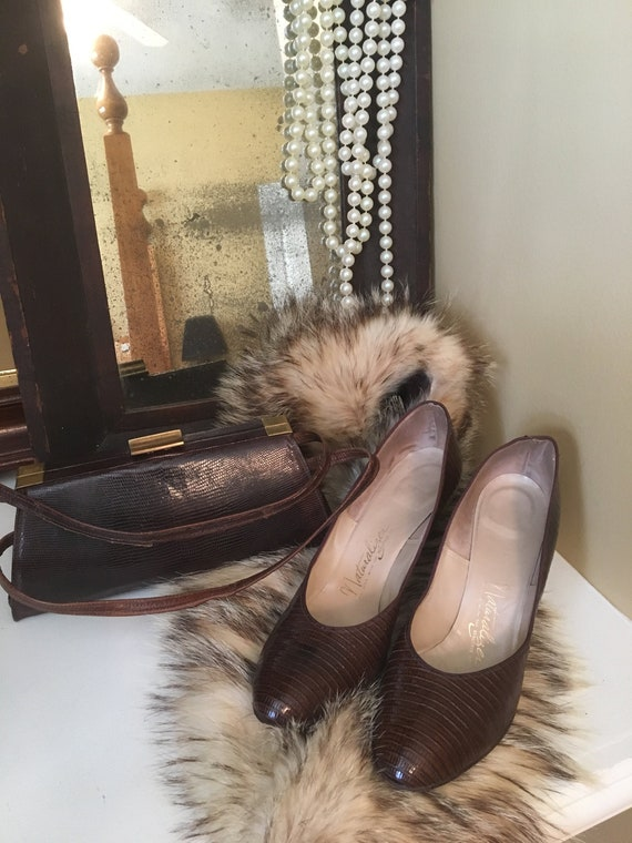 Vintage Pumps 1940's Leather Embossed Lizard Repti