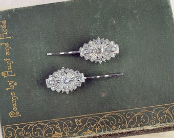 Deco Style Wedding Hair Grips for a bride or bridesmaid. A set of two vintage style crystal hair clips to style in your bridal Hair.