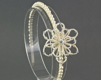 Floral Wedding Side Headband for a bride or her bridesmaid. Beaded Pearl Bridal Flower Headband, Wedding Side Tiara Hair Accessory