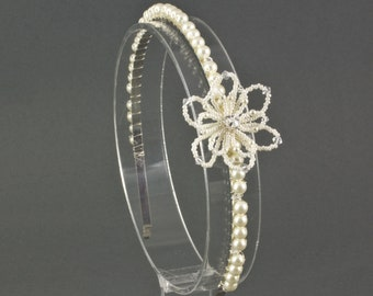 Floral Wedding Side Tiara Headband for a bride, bridesmaid or Flower Girl. Beaded Pearl Bridal Flower Headband, Wedding Hair Accessory
