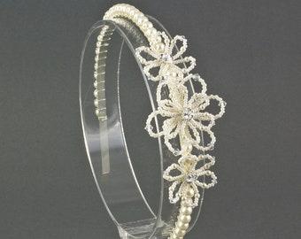 Floral Wedding Side Headband for a bride or her bridesmaid. Beaded Pearl Bridal Headband with three flowers, Wedding Hair Accessory