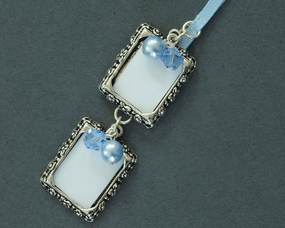 Double Wedding Bouquet Photo Frame Charm Crystal And Pearl Etsy