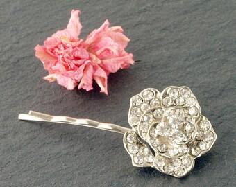 Rose Wedding Hair Clip   Crystal Rose Hair Clip   Wedding Hair Accessory   Crystal Hair Clip   Sparkly Bridal Hair Grip   Small Rose Grip