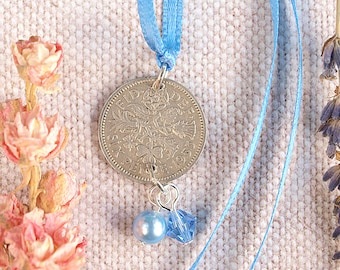 Lucky Sixpence Wedding Charm Something Blue For Bride. Silver Sixpence. Something Old, New, Borrowed and Blue. Wedding Engagement Gift