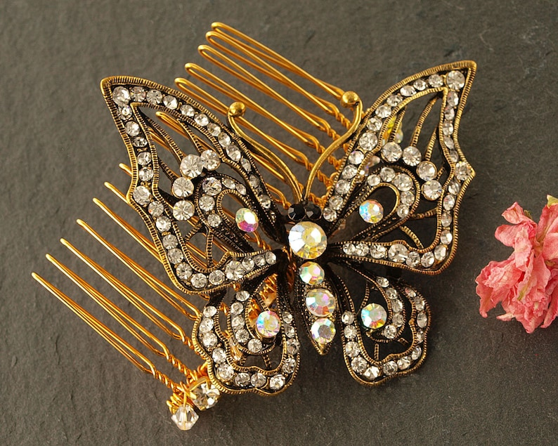 Gold Butterfly Wedding Comb  Crystal Hair Comb  Wedding Hair image 0