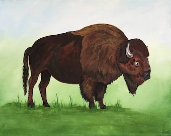 Buffalo / Bison, acrylic painting on 11 x 14 canvas