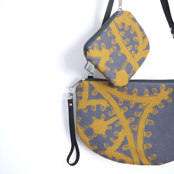 "Canvas crossbody bag grey and yellow ""Luminarie"", evening pochette, Round Purse, Unique Shoulder Bag"
