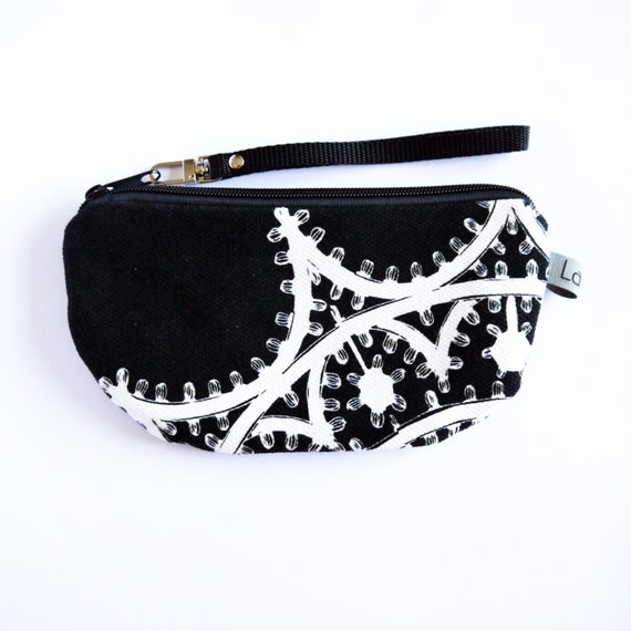 Canvas pencil case, black and white canvas, LUMINARIE black and white
