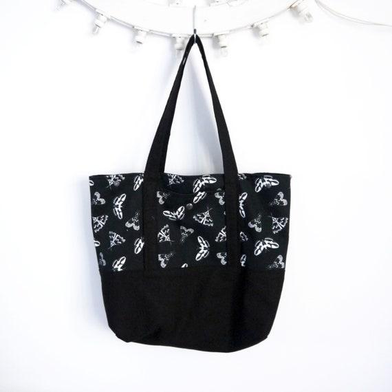 Reversible tote bag black and white, graphic MOTHS, vegan bag, big bag, beach bag, summer bag