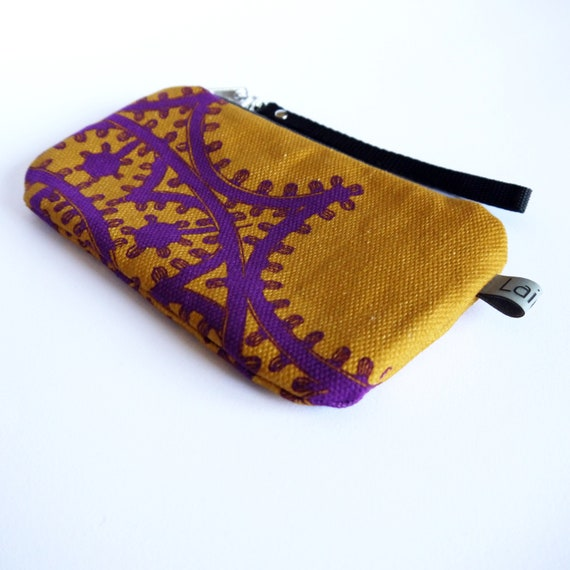 Canvas pencil case, yellow and violet canvas, luminarie bag