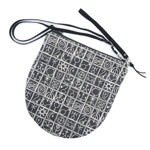Crossbody bag dark grey and white, trulli graphics, evening pochette, Round Purse, Unique Shoulder Bag, graphism, symbols bag