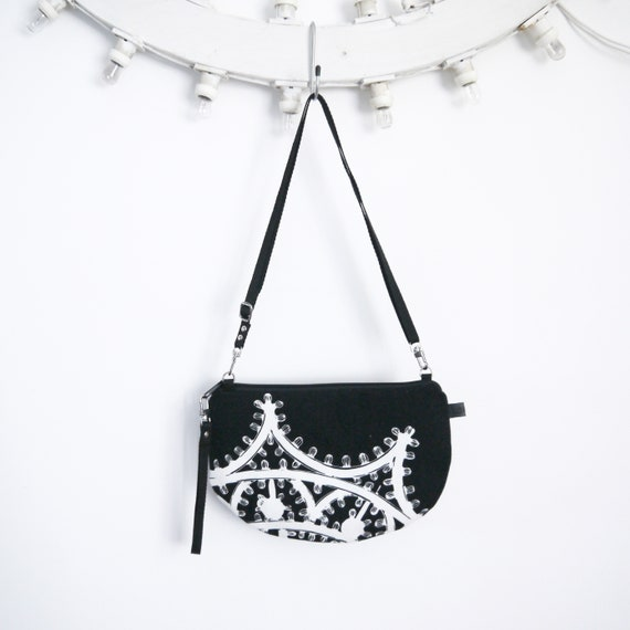 Canvas crossbody bag Black and white, Luminarie graphics, evening pochette, Round Purse, Unique Shoulder Bag