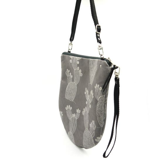 Crossbody bag grey and white, cactus graphics, evening pochette, Round Purse, Unique Shoulder Bag, Cactus Bag