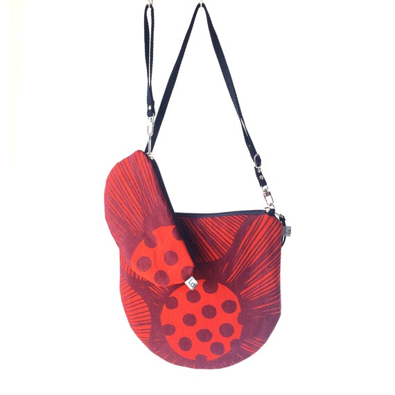 Canvas crossbody bag red and primrose, poppies graphics, evening pochette, Round Purse, Unique Shoulder Bag, Poppies Bag