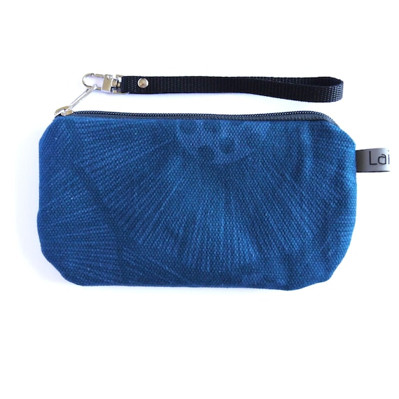 Canvas pencil case, blu canvas, poppy blue