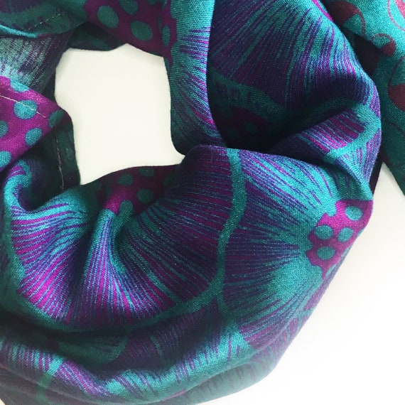 Infinity scarf turquoise and violet, poppies original graphic, wool viscose, green and purple