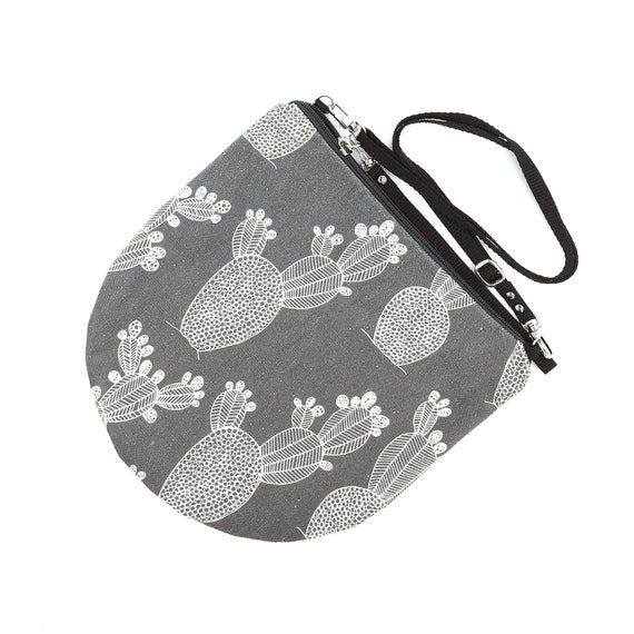 Canvas crossbody bag grey and white, cactus graphics, evening pochette, Round Purse, Unique Shoulder Bag, Cactus Bag