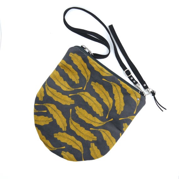 Crossbody bag grey and yellow, feathers graphics, evening pochette, Round Purse, Unique Shoulder Bag, Leaves Bag