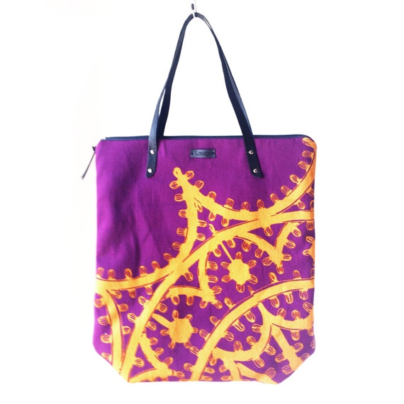 "Canvas shopping bag ""Leggera"", violet bag, vegan bag, imperial purple and yellow mustard"