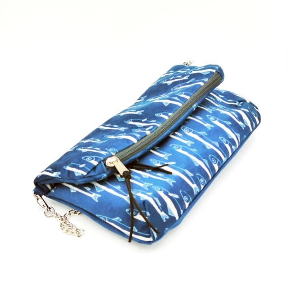 """Blue and white clutch graphics """"anchovies"""", hand-brushed poly bag, foldover clutch"""
