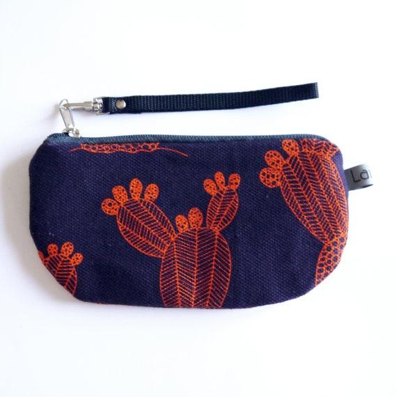 Canvas pencil case, purple and orange canvas, dark violet, eggplant purple, flame red