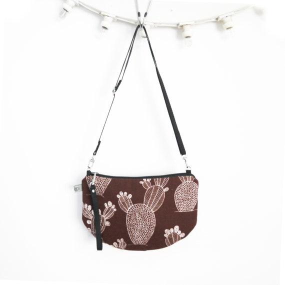 Canvas crossbody bag Marsala brown and white, Cactus graphics, evening pochette, Round Purse, Unique Shoulder Bag