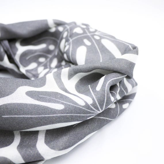 Infinity scarf dark grey and white, monstera original graphic, wool viscose