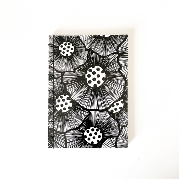 Handmade binded notebook, A6 vertical, laiepi graphic