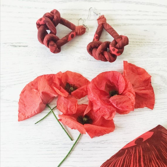 """Knots fabric earrings, handmade textile earring, graphic """"POPPIES"""""""