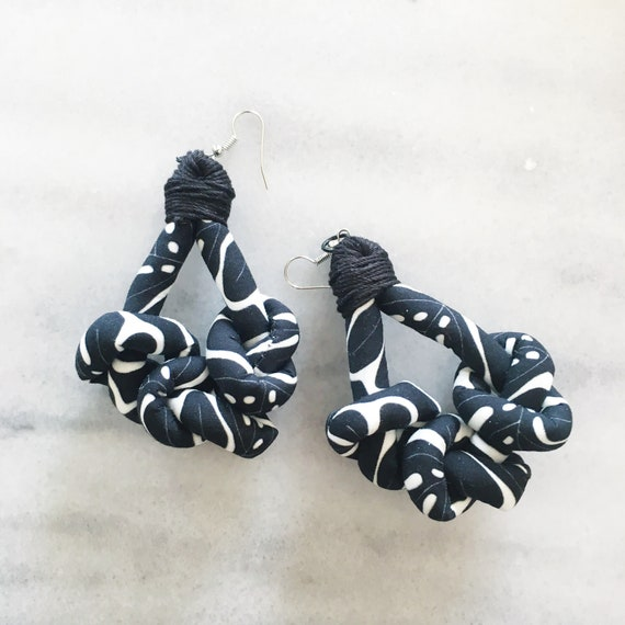 "Knots fabric earrings, handmade textile earring, graphic ""Monstera"""