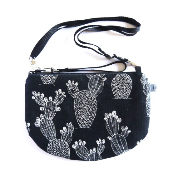 Canvas crossbody bag black and white, Cactus graphics, evening pochette, Round Purse, Unique Shoulder Bag