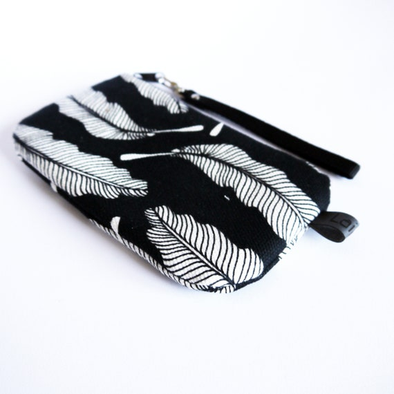 Canvas pencil case, black and white canvas, Feathers black and white