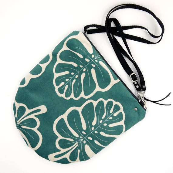 Crossbody bag green and white, tropical graphics, evening pochette, Round Purse, Unique Shoulder Bag, Monstera Bag