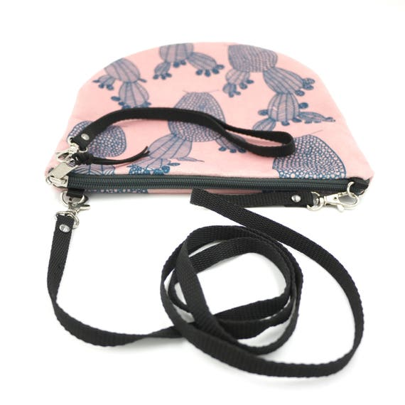 Crossbody bag pink and blue, cactus graphics, evening pochette, Round Purse, Unique Shoulder Bag, Cactus Bag