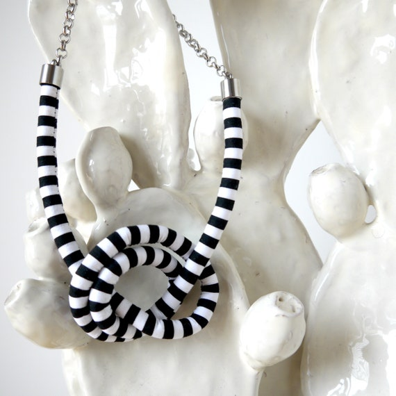 Knots fabric necklace, black and white necklace, handmade textile earring, stripes necklace