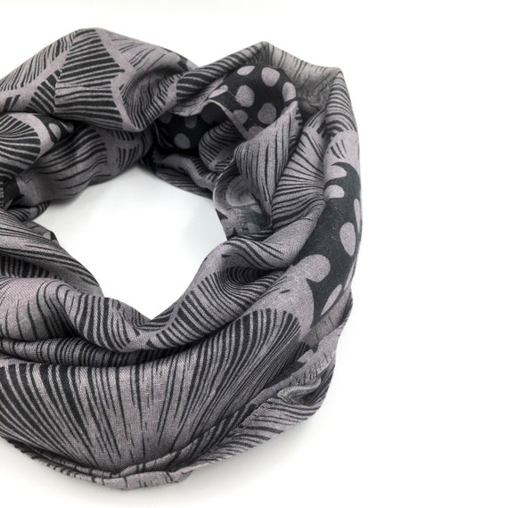 Infinity scarf grey, poppies original graphic, wool viscose, grey and dark grey