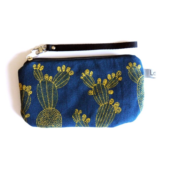 Canvas pencil case, blue and yellow canvas