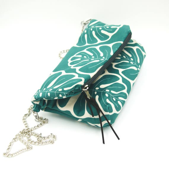 """Green and white clutch graphics """"monstera"""", hand-brushed poly bag, foldover clutch"""