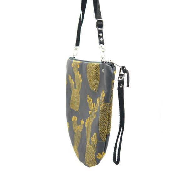 Crossbody bag grey and yellow, Cactus graphics, evening pochette, Round Purse, Unique Shoulder Bag, Cactus Bag