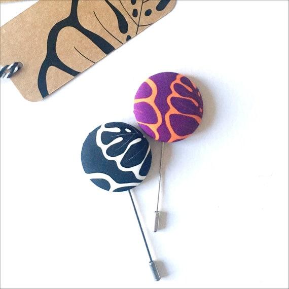 Round fabric brooch, handmade textile bouttonniere
