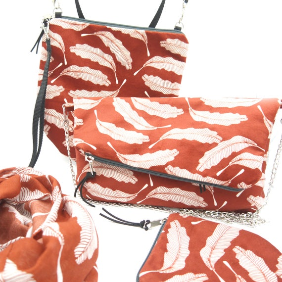 """Red and white clutch graphics """"feathers"""", hand-brushed poly handbag, foldover clutch"""