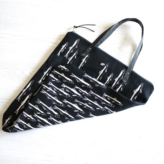 """""""Light"""" black and white Shopping bag, anchovy print"""