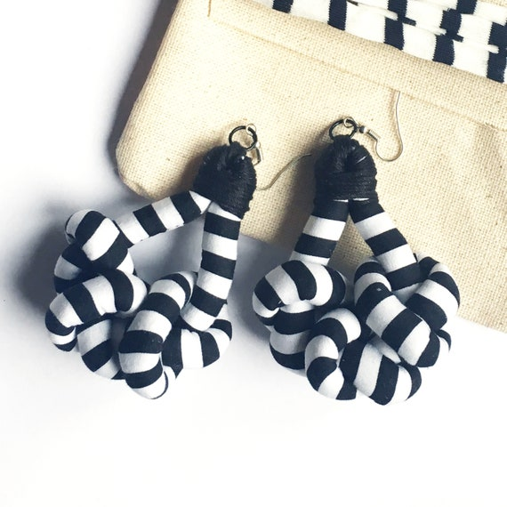 "Knots fabric earrings, black and white aerrings, handmade textile earring, ""Stripes"" graphic"