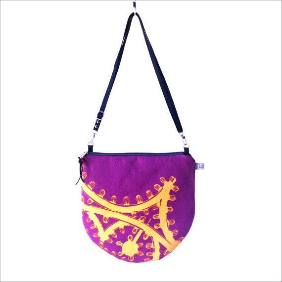 Canvas crossbody bag violet and yellow, poppies graphics, evening pochette, Round Purse, Shoulder Bag, imperial purple, yellow mustard