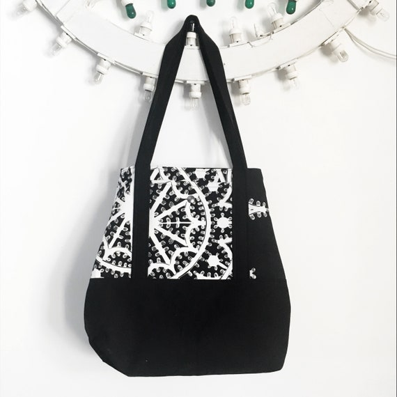 "Summer bag ""Reversibile"" bianco e nero in canvas, stampa LUMINARIE"