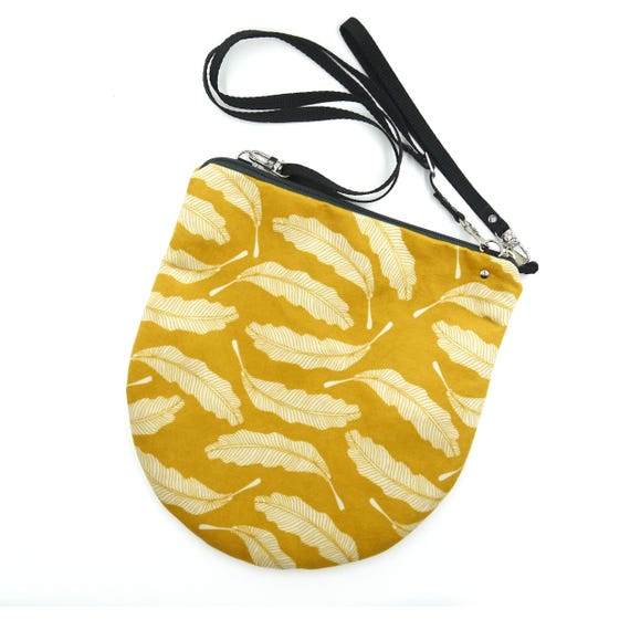 "Yellow graphic ""feather"" shoulder bag, LARGE brushed Poly Pochette"