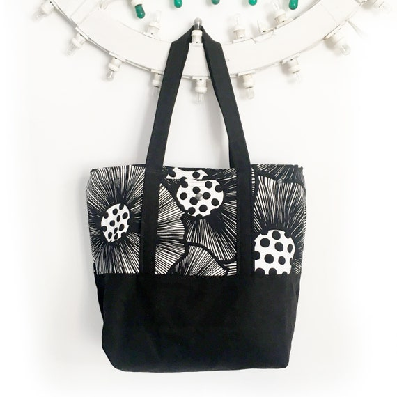 "Summer bag ""Reversibile"" bianco e nero , stampa PAPAVERI"