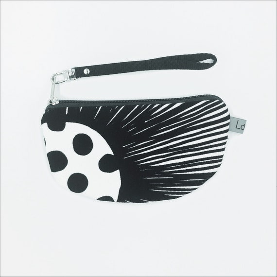 Canvas pencil case, black and white canvas, poppy black and white